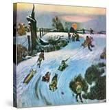 """""""Sledding by Sunset """" December 18  1948"""