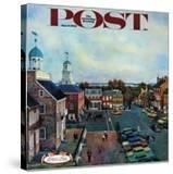 """Town Square  New Castle Delaware "" Saturday Evening Post Cover  March 17  1962"