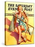 """Broken Beach Chair "" Saturday Evening Post Cover  August 12  1939"