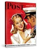 """""""Naval Officer & Woman """" Saturday Evening Post Cover  August 8  1942"""