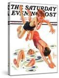 """""""Diving In """" Saturday Evening Post Cover  June 8  1935"""