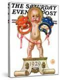 """""""Dramatic New Year """" Saturday Evening Post Cover  December 29  1928"""