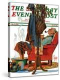 """Postman Soaking Feet "" Saturday Evening Post Cover  December 21  1940"