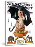"""""""Raining on Baby New Year """" Saturday Evening Post Cover  December 31  1927"""