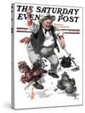 """""""Shoo Chickens ! """" Saturday Evening Post Cover  June 2  1923"""