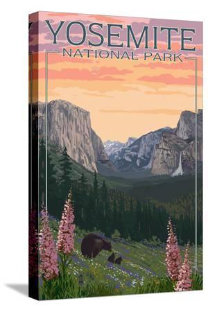 lantern-press-bears-and-spring-flowers-yosemite-national-park-california