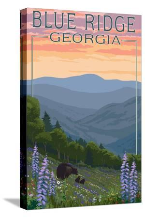 lantern-press-blue-ridge-georgia-bear-family-and-spring-flowers