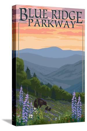 lantern-press-blue-ridge-parkway-bear-family-and-spring-flowers
