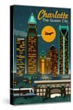 Charlotte  North Carolina - Retro Skyline