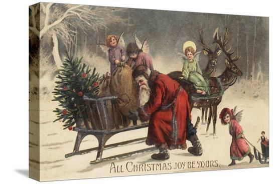 lantern-press-christmas-greeting-santa-and-sleigh