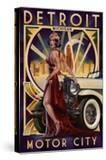 Detroit  Michigan - Deco Woman and Car