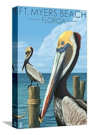 lantern-press-ft-myers-beach-florida-pelicans