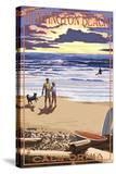 Huntington Beach  California - Sunset Beach Scene