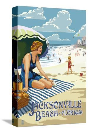 lantern-press-jacksonville-florida-woman-and-beach-scene