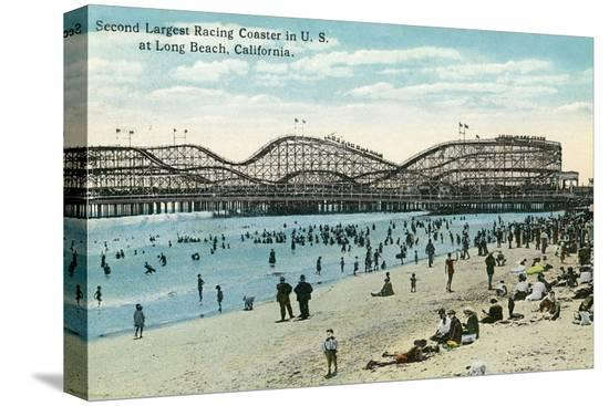 lantern-press-long-beach-california-panoramic-view-of-the-roller-coaster