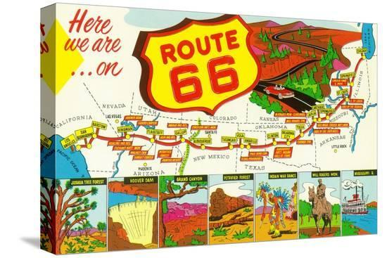 lantern-press-map-of-route-66-from-los-angeles-to-chicago