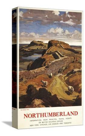 lantern-press-northumberland-england-hadrian-s-wall-and-sheep-british-rail-poster