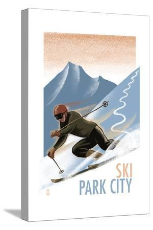 lantern-press-park-city-utah-downhill-skier-lithography-style