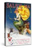 Salem  Massachusetts - Halloween Greeting - Witch on a Broom by Full Moon - Vintage Artwork