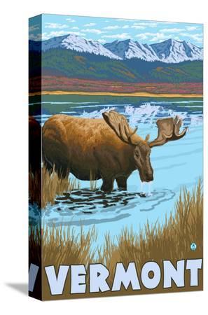 lantern-press-vermont-moose-drinking-in-lake