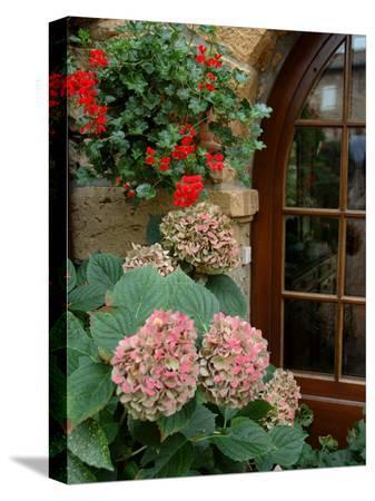 lisa-s-engelbrecht-geraniums-and-hydrangea-by-doorway-chateau-de-cercy-burgundy-france