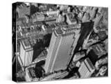 Aerial View Looking Down on 6th Ave and 50th St at Towering Rockefeller Center Complex