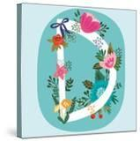 Vector Hand Drawn Floral Monogram with Vintage Amazing Flowers! Letters D Perfect for Backgrounds O