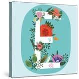 Vector Hand Drawn Floral Monogram with Vintage Amazing Flowers! Letters E Perfect for Backgrounds O