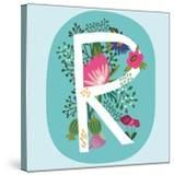 Vector Hand Drawn Floral Monogram with Vintage Amazing Flowers! Letters R Perfect for Backgrounds O