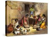 Mexican Women Making Tortillas  1800s