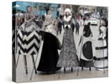 "Models on Stilts Present ""High Fashion"" on the Famous ""Jungfernstieg"" Boulevard in Hamburg  Germany"
