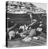 Navajo Jessie Gorman Spinning Wool For Blanket Weaving