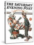 """Circus"" or ""Meeting the Clown"" Saturday Evening Post Cover  May 18 1918"