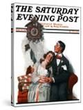 """""""Courting under the Clock at Midnight"""" Saturday Evening Post Cover  March 22 1919"""