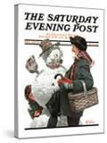 """""""Gramps and the Snowman"""" Saturday Evening Post Cover  December 20 1919"""