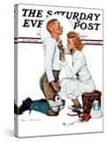 """Letter Sweater"" (boy & girl) Saturday Evening Post Cover  November 19 1938"