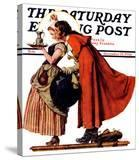 """Mistletoe Kiss"" or ""Feast for a Traveler"" Saturday Evening Post Cover  December 19 1936"