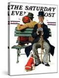 """""""Overheard Lovers"""" (man on park bench) Saturday Evening Post Cover  November 21 1936"""