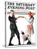 """""""Playing Party Games"""" Saturday Evening Post Cover  April 26 1919"""