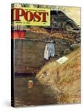 """Swimming Hole"" Saturday Evening Post Cover  August 11 1945"