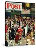 """""""Union Train Station  Chicago  Christmas"""" Saturday Evening Post Cover  December 23 1944"""