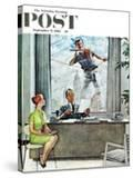 """""""Window Washer"""" Saturday Evening Post Cover  September 17 1960"""