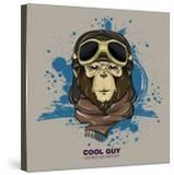 Poster with Portrait of Monkey Wearing the Motorcycle Helmet and Scarf Vector Illustration Art Pr