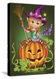 Witch with a Broom on a Pumpkin