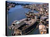 Houseboats and Houses on Banks of Saigon River  Ho Chi Minh City  Vietnam