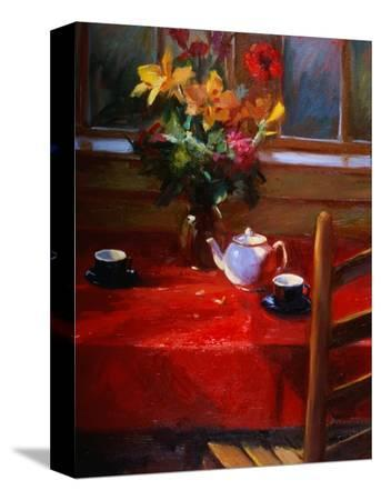 pam-ingalls-flowers-and-teapot-on-red