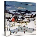 """Skating on Farm Pond ""January 1  1950"