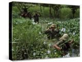 American Soldiers Wade Through Marshy Area During the Vietnam War