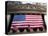 American Flag  New York Stock Exchange Building  Lower Manhattan  New York City  New York  Usa
