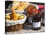Wicker Basket with Croissants and Breads  Clos Des Iles  Le Brusc  Var  Cote d'Azur  France
